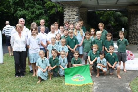 Whole school photo on Anzac Day, 2012.